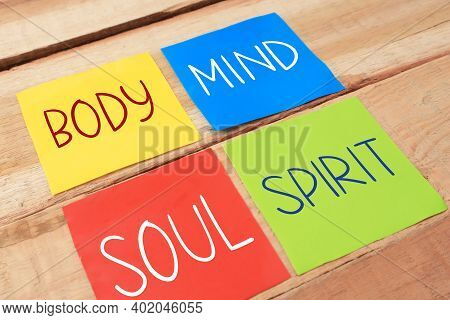 Body Mind Soul Spirit, Business Motivational Inspirational Quotes, Words Typography Lettering Concep