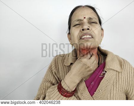 Woman In Soar Throat Feeling Sick Neck Pain Suffering Touching Neck Due To Cold And Flu One Of Thyro