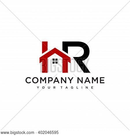 Letter H And R Logo. Home Symbol. Icon Vector.