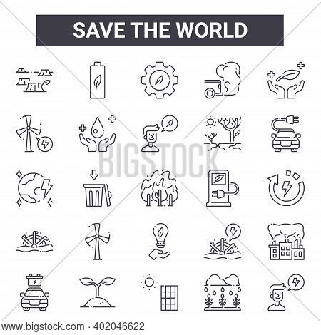 Save The World Outline Icon Set. Includes Thin Line Icons Such As Deforestation, Windmill, Gas Pump,