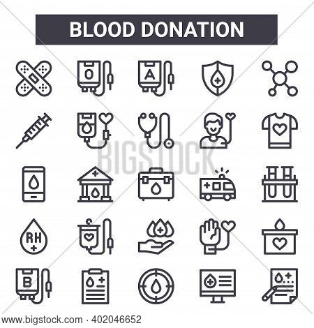 Blood Donation Outline Icon Set. Includes Thin Line Icons Such As Band Aid, Syringe, Ambulance, Tran