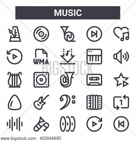Music Outline Icon Set. Includes Thin Line Icons Such As Metronome, Replay, Cassette, Accordion, For