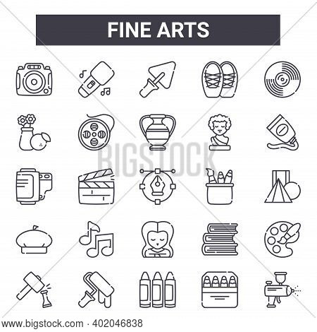 Fine Arts Outline Icon Set. Includes Thin Line Icons Such As Camera, Still Life, Stationery, Books,