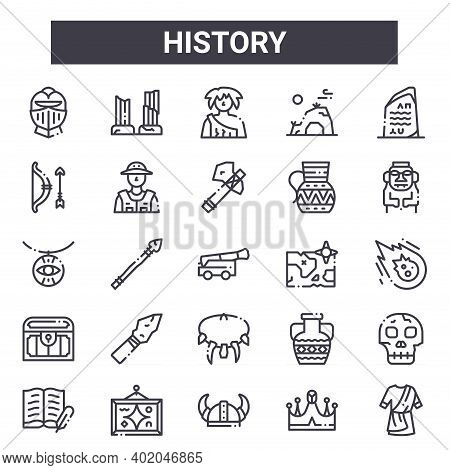 History Outline Icon Set. Includes Thin Line Icons Such As Helmet, Bow, Map, Amphora, Crown, Caveman