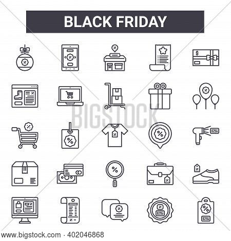Black Friday Outline Icon Set. Includes Thin Line Icons Such As Bauble, Website, Location, Briefcase