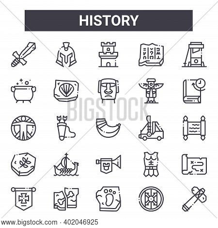 History Outline Icon Set. Includes Thin Line Icons Such As Sword, Cauldron, Catapult, Armour, Shield