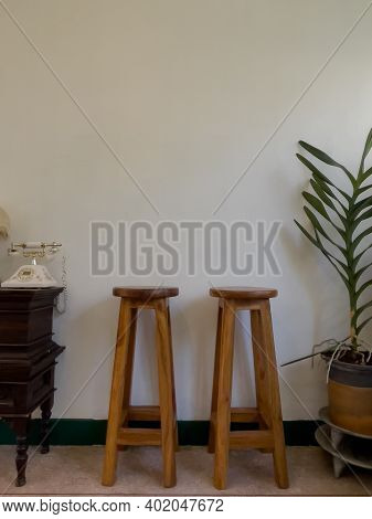 Wooden Chair On White Background, Stock Photo