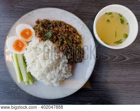 Thaifood Basil Chicken With Boiled Egg, Stock Photo