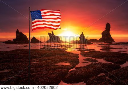 American National Flag Overlay. Beautiful View Of A Scenic Landscape At The Ocean Coast. Taken At Sh