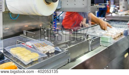 Automatic Food Production Line On Conveyor Belt Equipment Machinery In Factory, Industrial Food Prod