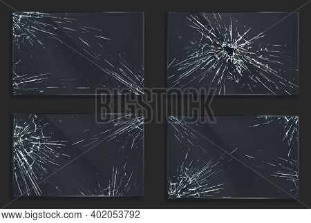 Broken Glass With Cracks And Hole From Impact Or Bullet Shot. Rectangular Shape Clear Acrylic Or Ple
