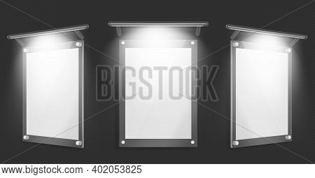 Acrylic Poster, Blank Glass Frame With Illumination Hang On Wall Isolated On Black Background. Empty