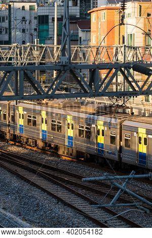 Seoul,south Korea-september 2020: Seoul Public Subway Train Locomotive Passing By At The Outdoor Rai
