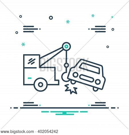 Mix Icon For Car Towing Car Towing Tow Accident Breakdown