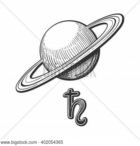 Planet Saturn With Rings With Astrological Sign, Linear Hand Drawing Isolated On White Background. S