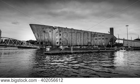 Amsterdam, Noord Holland, The Netherlands - Sept. 9 2016:  Black And White Photo Of The Maritime Mus