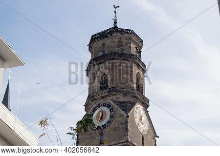 Clock Tower, Protestant Collegiate Church, Stiftskirche, Stuttgart, Baden-wuerttemberg
