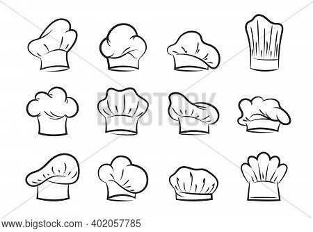 Chefs Hats Set. Contours Of Professional Headgear For Pastry Chefs And Bakers Fashionable Uniform De
