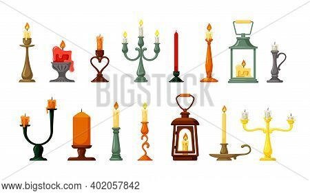 Retro Candlesticks And Lamps Set. Old Hand Lanterns With Candle Green Twisted Wax Holders Elegant Vi
