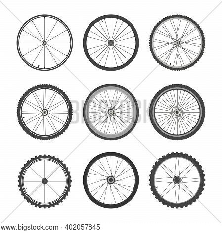 Bicycle Wheels Set. Circle With Professional Tires And Spoke Tracery For Fast And High Quality Drivi