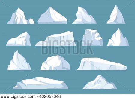 Varieties Icebergs Set. Geometric Floating Shape Of Ice In Arctic Ocean Massive White Surface With U