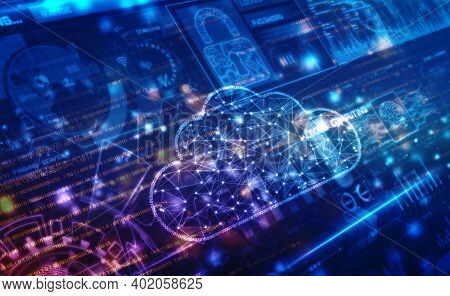 2d Illustration Of  Cloud Computing, Digital Cloud Computing Concept Background. Cyber Technology, I