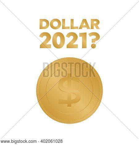 Realistic Gold Dollar Coin. Coin Dollar Icon Money Vector