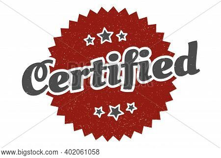certified sign. certified round vintage retro label. certified