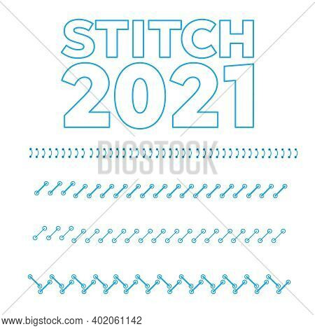 Sewing Machine Stitches Zig Zag Line. Collection Of Different Form And Color Stitches