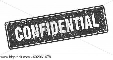 Confidential Stamp. Confidential Vintage Gray Label. Sign
