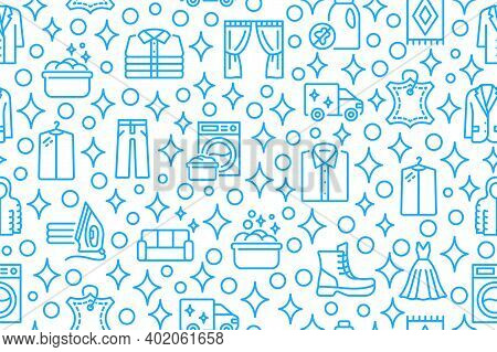 Dry Cleaning And Laundry Seamless Pattern With Flat Line Icons. Blue Symbol On A White Background