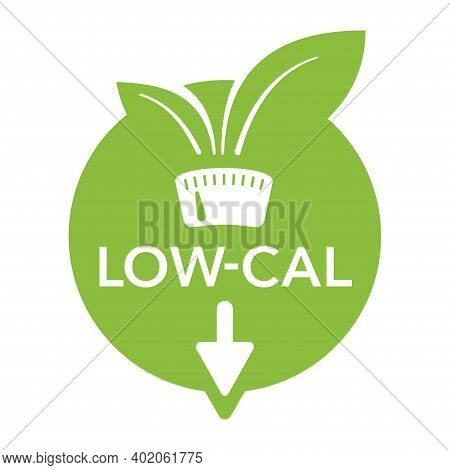 Low Cal Food Icon - Stamp For Packaging Of Low Calories Diet Products - Weight Scales With Green Lea