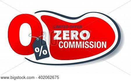0 Percents Isolated Banner - Zero Commission Special Offer Layout Template With Red 3d Zero Digit An
