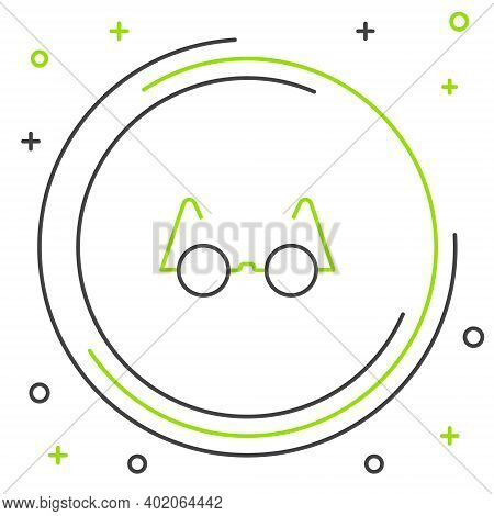 Line Eyeglasses Icon Isolated On White Background. Colorful Outline Concept. Vector