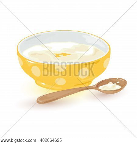 Aromatic Portion Of Semolina With Butter And Honey Served With Spoon. Vector Morning Breakfast, Cook