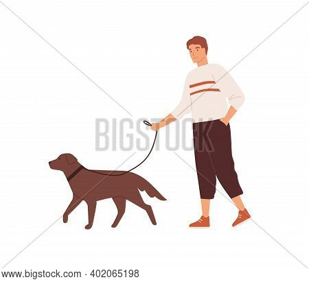 Guy Walking With Cute Dog On Leash Vector Flat Illustration. Happy Domestic Animal And Owner Spendin