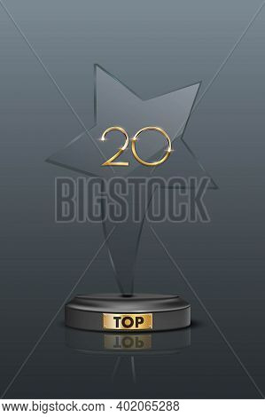 Top 20 Award Trophy. Star Shaped Prize With Gold Number Twenty. Champion Glory In Competition Vector