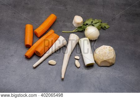 Vegetables For Soup. Carrots, Parsley, Garlic, Celery, Onion, Leek. Fresh Raw Materials