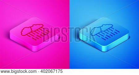 Isometric Line Cloud With Rain Icon Isolated On Pink And Blue Background. Rain Cloud Precipitation W