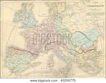 Antique Map Of France Under Charlemagne,