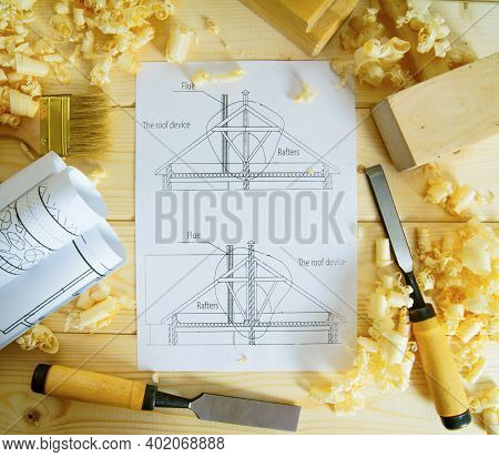 Planning Of Repair Of The House. Joiners Works. Drawings For Building And Working Tools On Wooden Ba