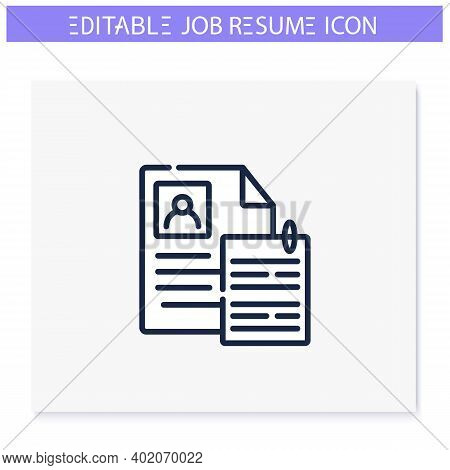 Cover Letter Line Icon.personal Statement, Introduction. Motivation Letter.personal Recruitment Info