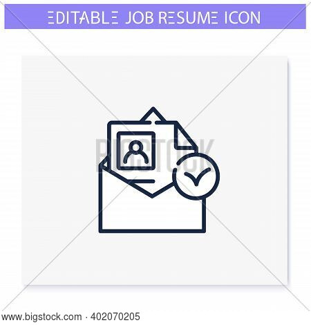 Resume Accepted Line Icon. Email Sended. Approved. Personal Recruitment Information. Career Biograph