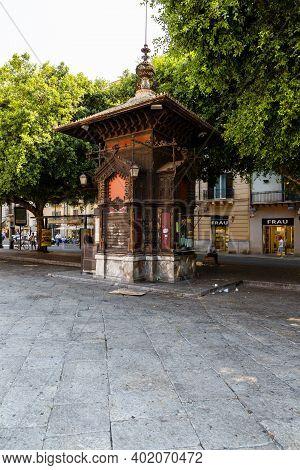 Palermo, Sicily, June 27, 2019: View Of The Ribaudo Kiosk In Palermo, Sicily