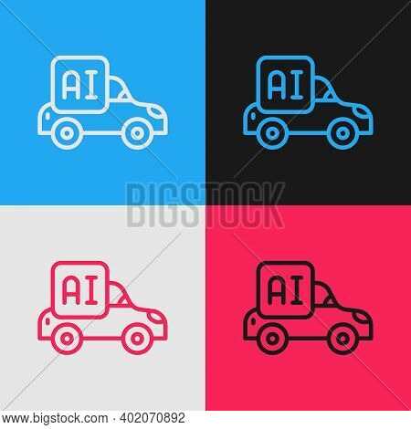 Pop Art Line Autonomous Artificial Intelligence Smart Car Icon Isolated On Color Background. Vector