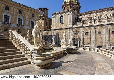 Beautiful View Of Piazza Pretoria, Or Piazza Della Vergogna, In Palermo