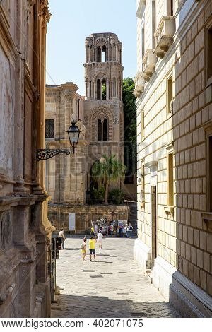 Beautiful View On Piazza Bellini In Palermo, Sicily