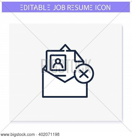 Resume Not Accepted Line Icon. Wrong Format Resume. Personal Recruitment Information. Career Biograp
