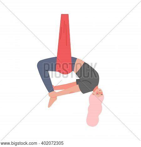 Girl Doing Air Yoga, Slim Young Woman In Sportswear Practicing Aero Yoga With Hammock, Healthy Lifes