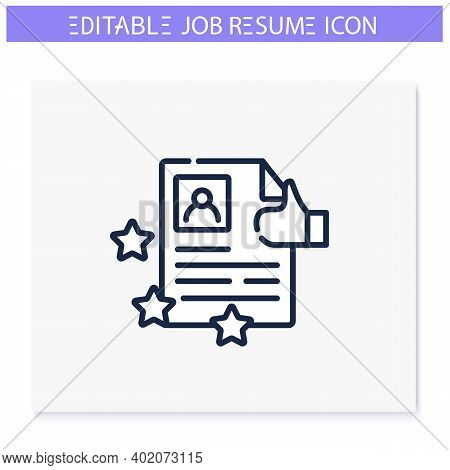 Best Job Resume Line Icon. High Rating. Best Employment Candidate. Personal Recruitment Information.